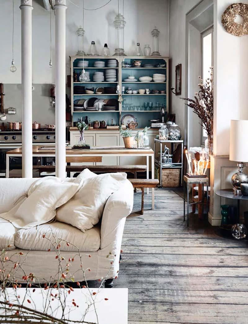 cuisine ouverte salon style rustique chic idees decoration