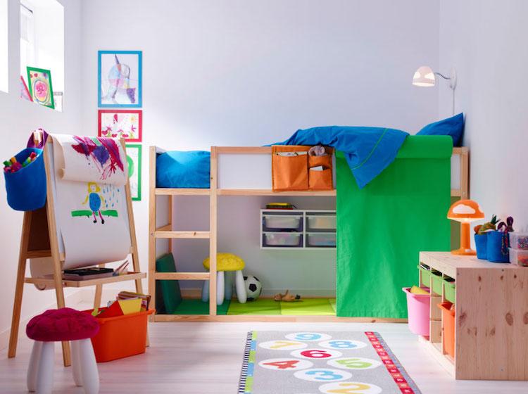 chambre enfant ikea lit reversible kura textile couleur idees chambre enfant ikea union de meubles pratiques et decoration coloree