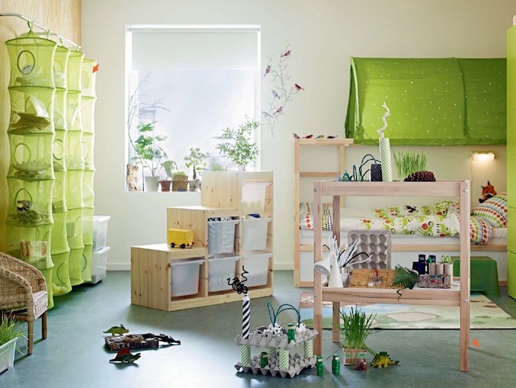 chambre enfant ikea meubles bois naturel deco verte idees chambre enfant ikea union de meubles pratiques et decoration coloree