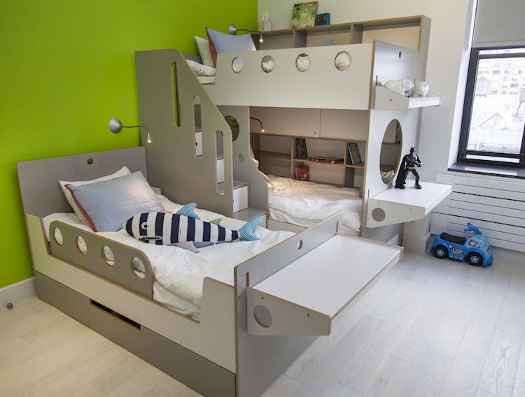 chambre partagee par 3 ou 4 enfants