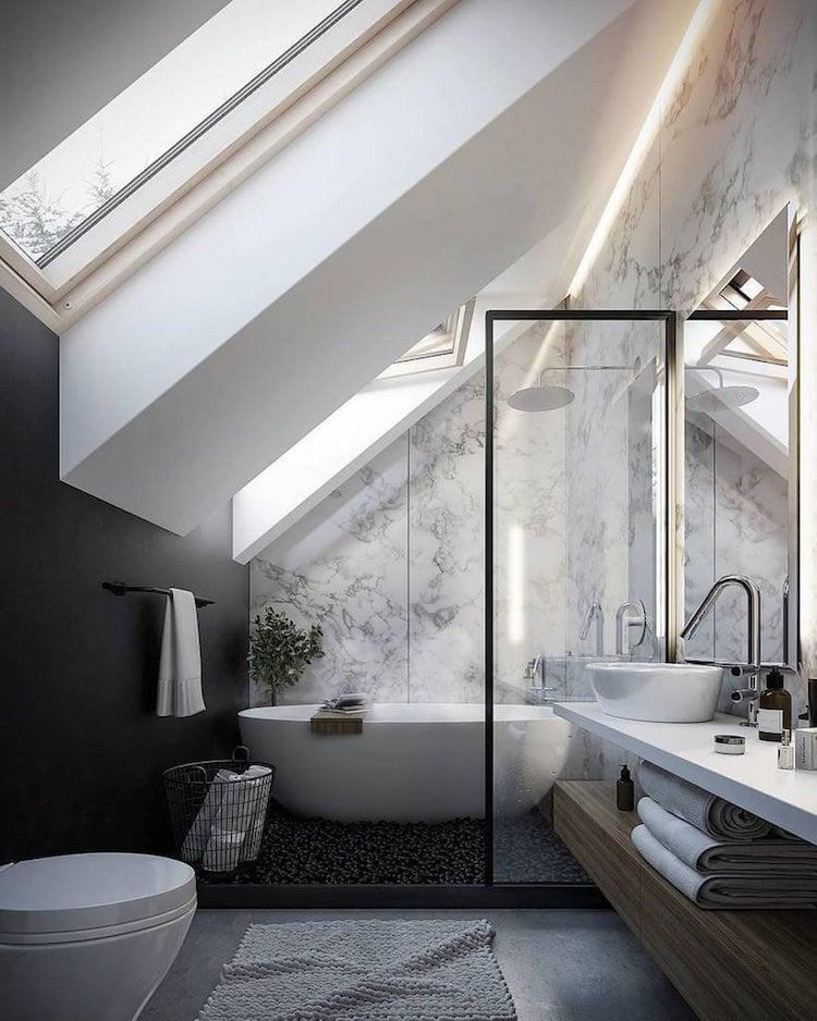 petite salle de bain moderne sous combles peinture noire papier peint marbre petite salle de bain moderne en 70 idees exclusives temoignant de sa