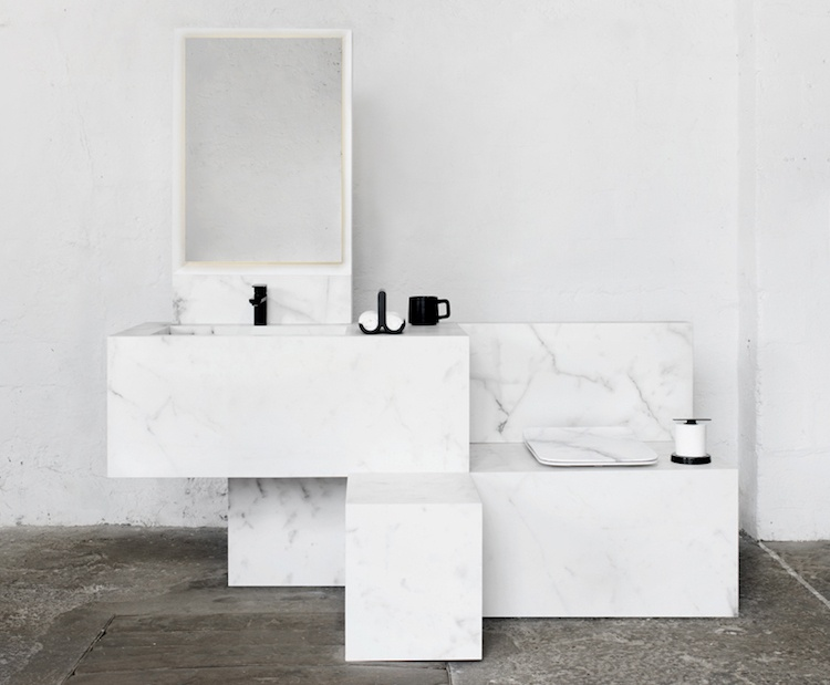 meuble salle de bain marbre blanc sanitaire et