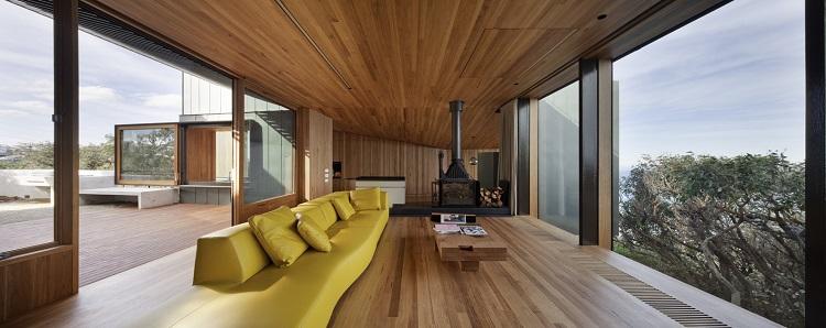 habillage bois interieur dans une