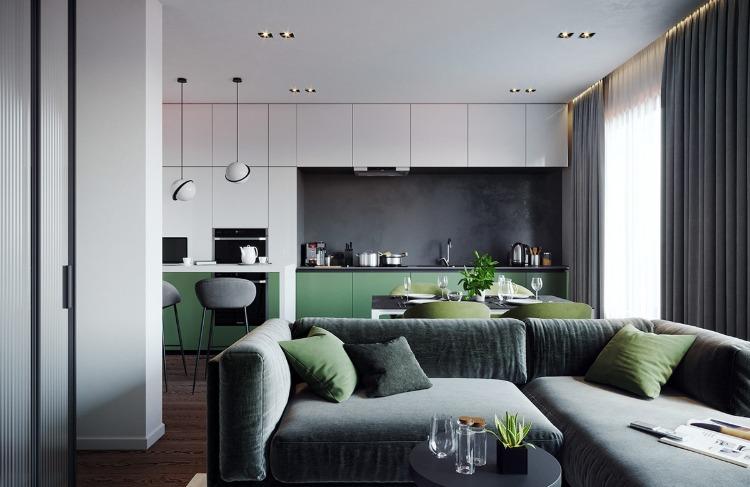 deco gris et vert pour un interieur