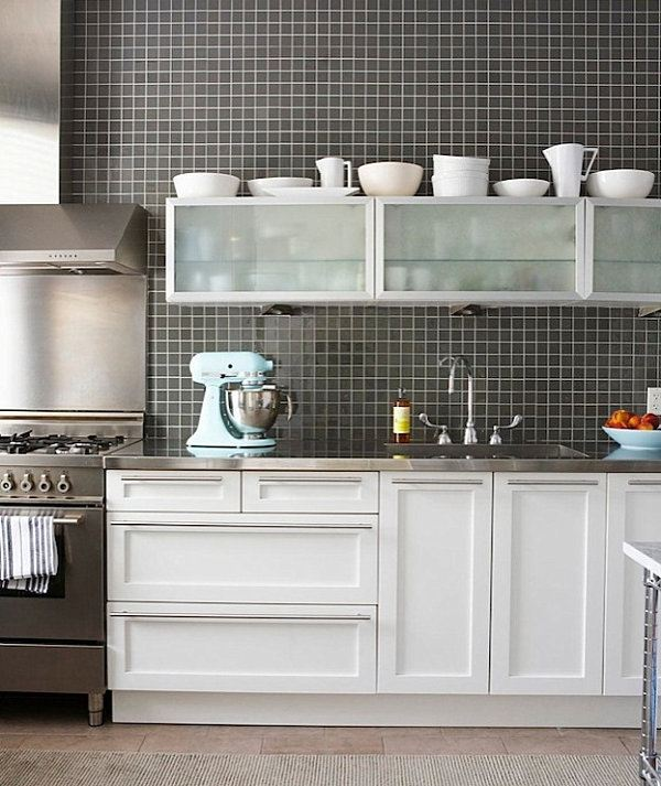 15 Contemporary kitchen designs with stainless steel ... on Kitchen Backsplash For Black Countertop  id=39105