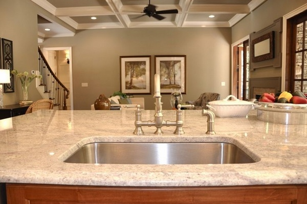 The beautiful Bianco Romano granite countertops in modern ... on Modern Kitchen Counter Decor  id=32594
