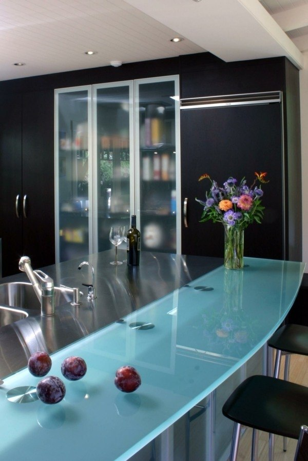 Glass countertop - extravagant, heat resistant and easy to ... on Kitchen Counter Decor Modern  id=68843