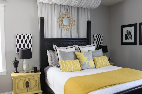grey and yellow bedroom interior