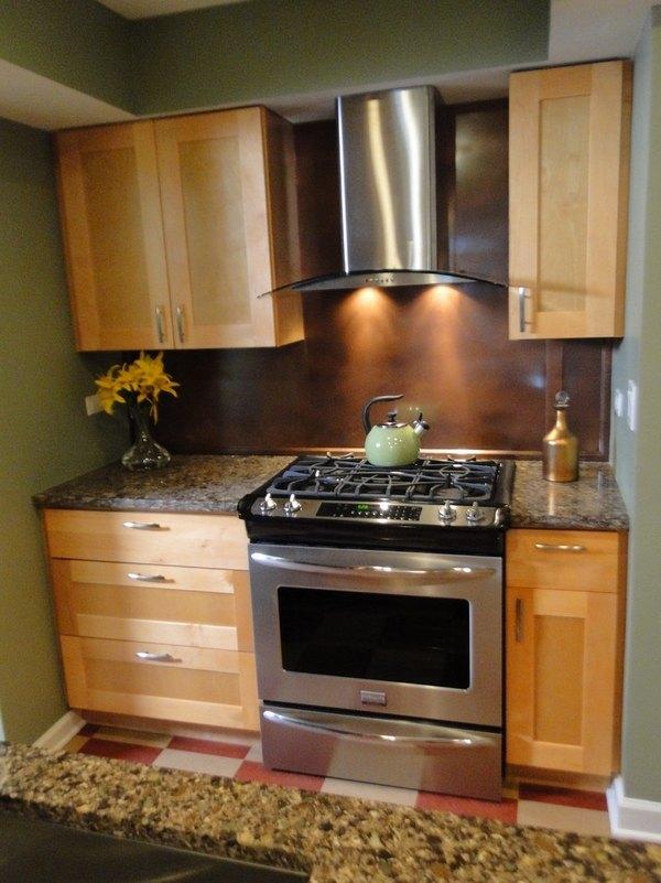 Copper backsplash for a distinctive kitchen with unique ... on Kitchen Backsplash With Natural Maple Cabinets  id=41826