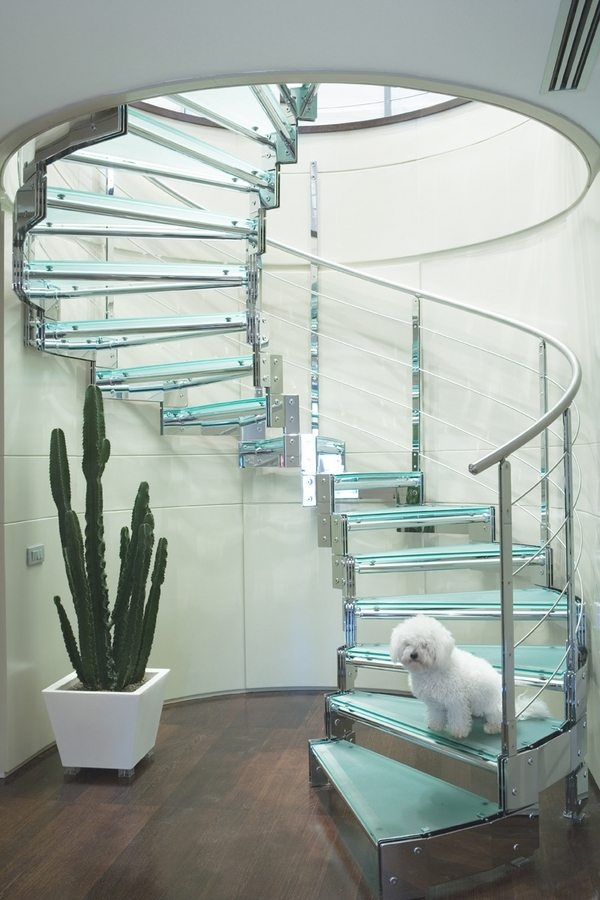 The Stunning Beauty Of Glass Staircase Designs   Modern Glass Staircase Design   Half Wall Glass   Marble Floor Glass   Modern Style   Stainless Steel   Stair Case