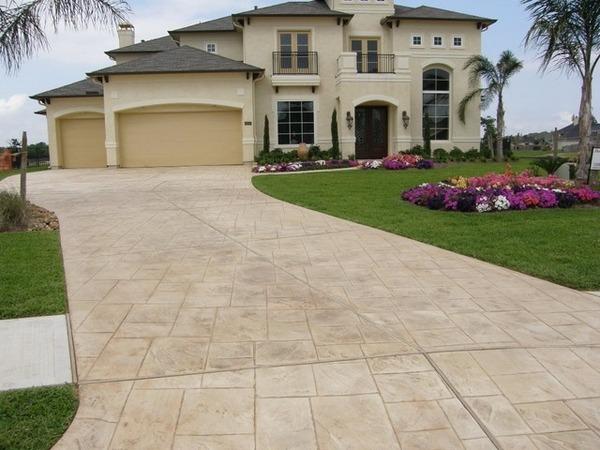 Concrete driveway pavers vs stamped concrete driveway on Concrete Front Yard Ideas id=27488