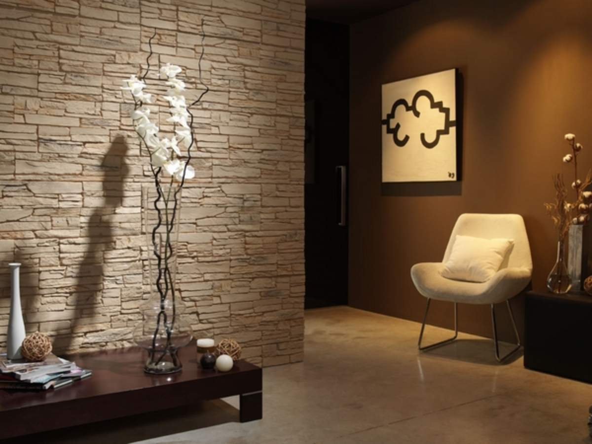 stone wall tile design ideas accent