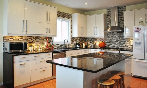 What are the best granite colors for white cabinets in ... on What Color Cabinets With Black Granite Countertops  id=60165