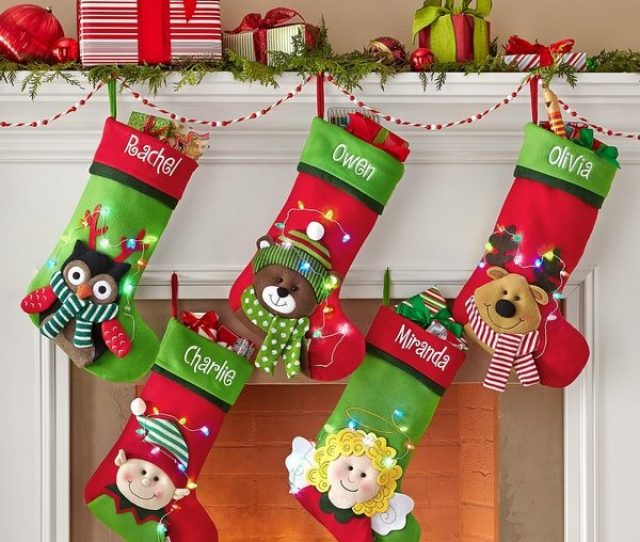 Cute Personalized Christmas Stockings For Kids Angel Teddy