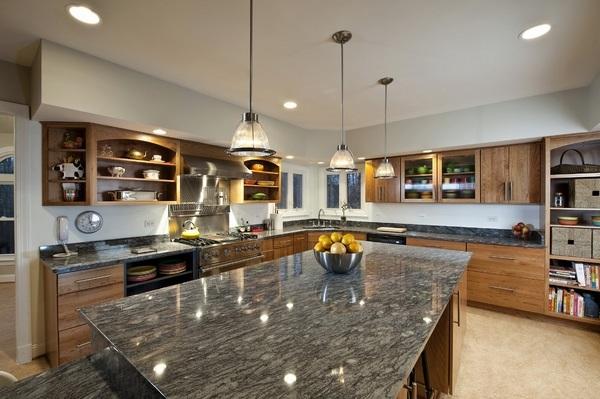 Modern gray granite countertops - trendy and elegant ... on Modern Kitchen Countertop Decor  id=36696