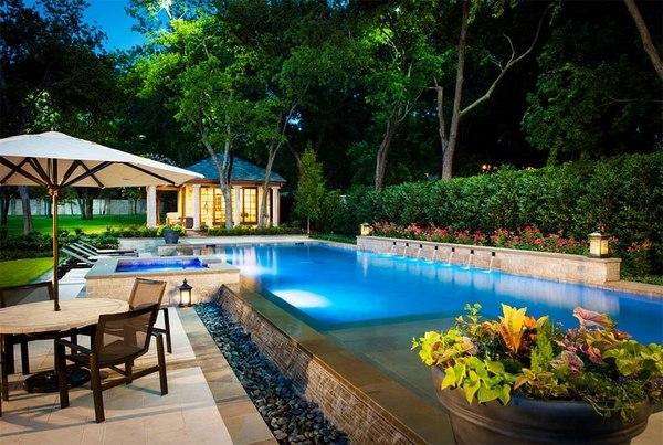 Above ground pool decks - 40 modern garden swimming pool ... on Modern Backyard Ideas With Pool id=54745