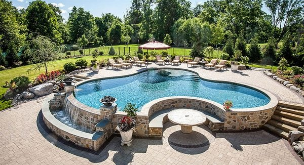 Above ground pool decks - 40 modern garden swimming pool ... on Pool Deck Patio Ideas id=71167