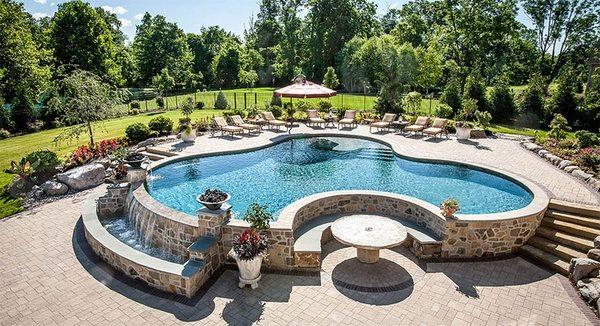Above ground pool decks - 40 modern garden swimming pool ... on Pool Deck Patio Ideas  id=71167