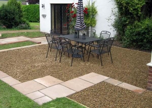Patio landscape design - cost effective pea gravel patio ... on Patio Gravel Ideas id=51805