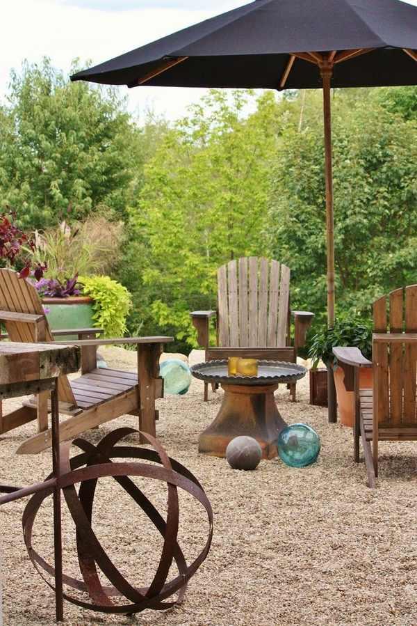 Patio landscape design - cost effective pea gravel patio ... on Backyard With Gravel Ideas id=65233