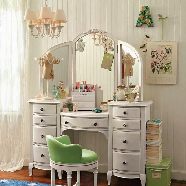 Vanity table with tri fold mirror - elegant bedroom ... on Mirrors For Teenage Bedroom  id=38744