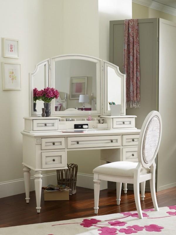 Vanity table with tri fold mirror - elegant bedroom ... on Mirrors For Teenage Bedroom  id=52719