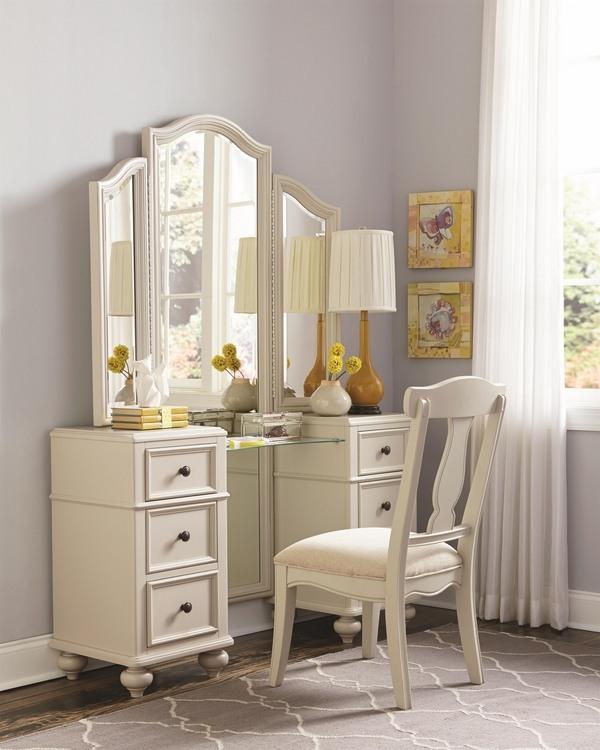 Vanity table with tri fold mirror - elegant bedroom ... on Mirrors For Teenage Bedroom  id=86282