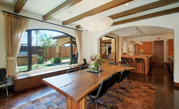 Wood slab dining table designs in rustic and modern interiors on Dining Table Ceiling Design  id=14892