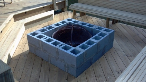 Cinder block fire pit - DIY fire pit ideas for your backyard on Cinder Block Fireplace Diy  id=16937
