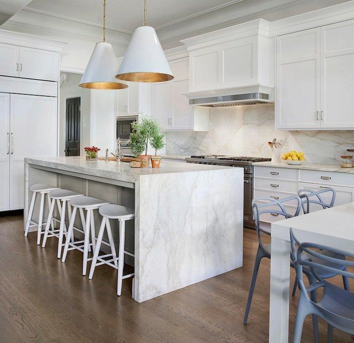 Waterfall countertop design ideas -modern kitchens with ... on Modern Kitchen Countertop Decor  id=92527