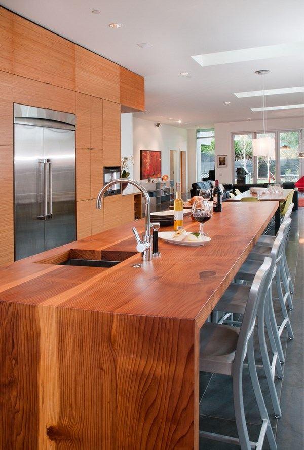 Waterfall countertop design ideas -modern kitchens with ... on Modern Kitchen Countertop Decor  id=99189