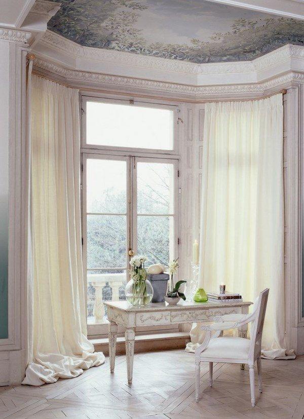 bay window curtain pole ideas small