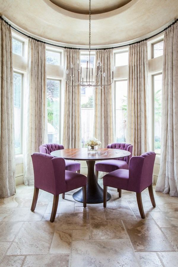 Bow window treatment - an elegant and graceful feature of ... on Farmhouse:-Cra1Rtrksu= Dining Room Curtains  id=34193