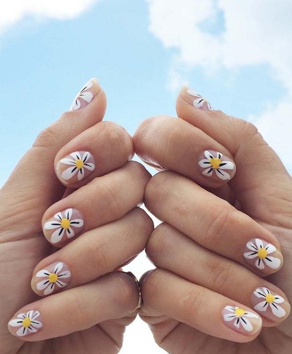 Daisy Nail Art Ideas Cute Summer Designs With Fl Pattern