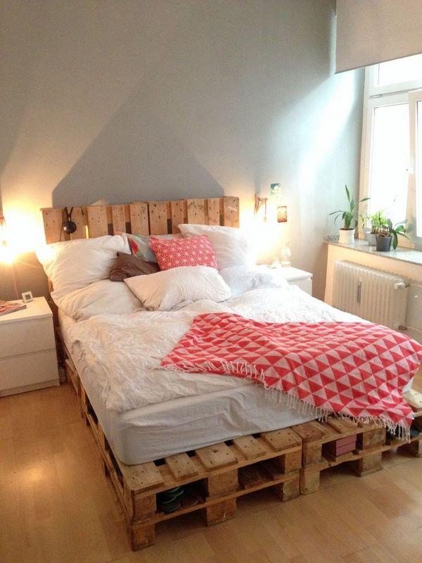DIY pallet bed frame - fantastic bedroom furniture design ... on Pallet Bedroom Design  id=75741