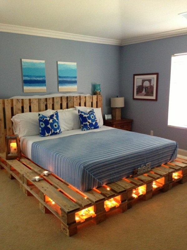 DIY pallet bed frame - fantastic bedroom furniture design ... on Bed Pallet Design  id=99607