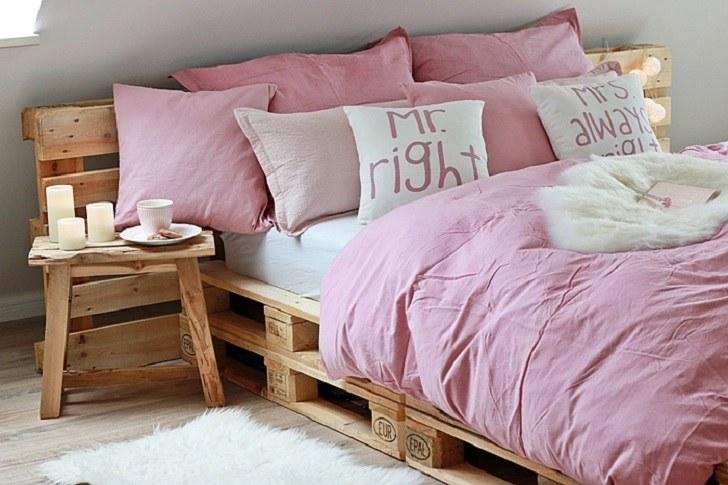 DIY pallet bed frame - fantastic bedroom furniture design ... on Pallet Bedroom Design  id=47871