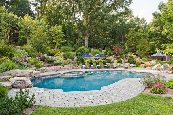 Pool landscaping ideas and basic rules for the decor of ... on Backyard Pool And Landscaping Ideas id=21302