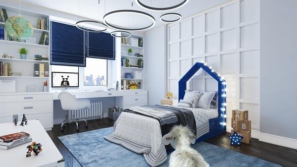 blue nursery and kids bedroom interior