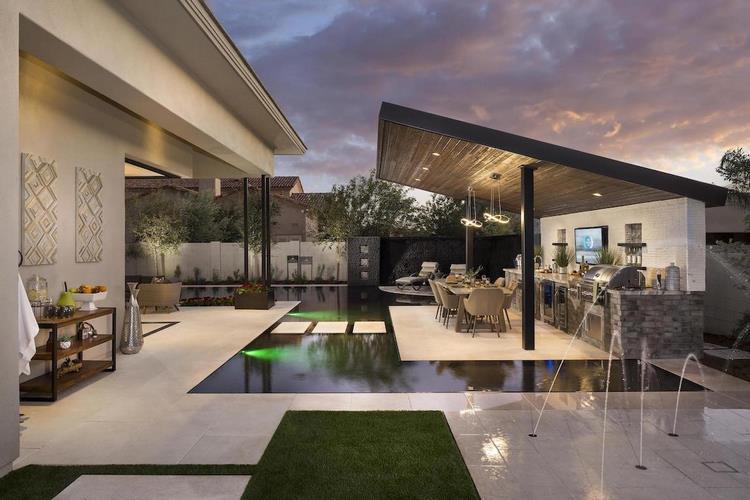 Modern outdoor kitchen - fresh ideas for stylish outdoor areas on Backyard Exterior Design id=61216