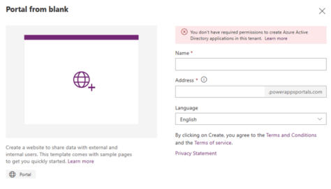 Privileges required to configure PowerApps portal