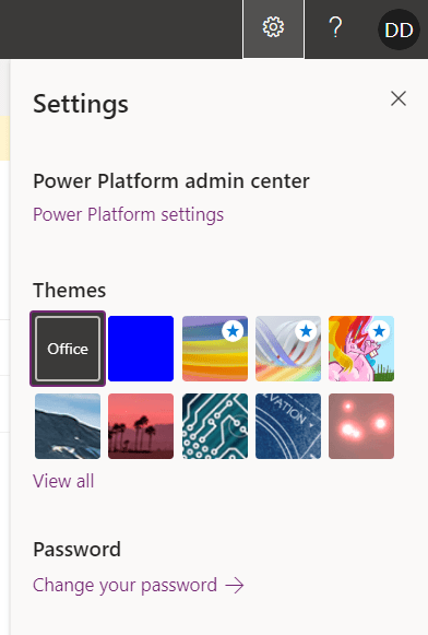Power platform settings