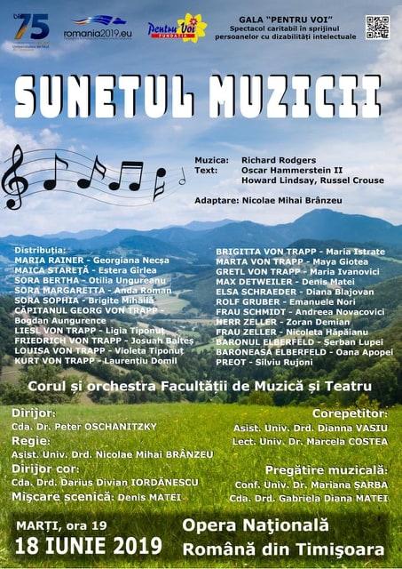 """Spectacol caritabil la Gala Pentru Voi la Timișoara – """"Sunetul Muzicii"""""""