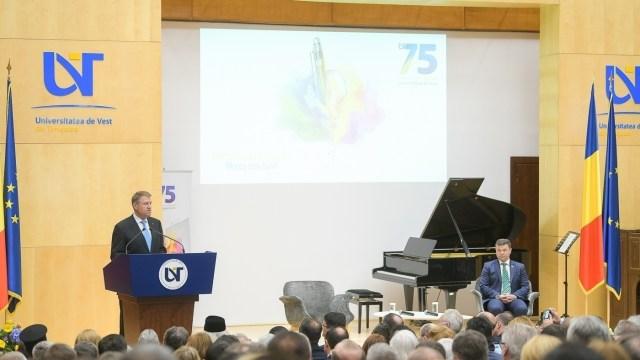 Klaus Iohannis, la UVT. Sursă foto: presidency.ro