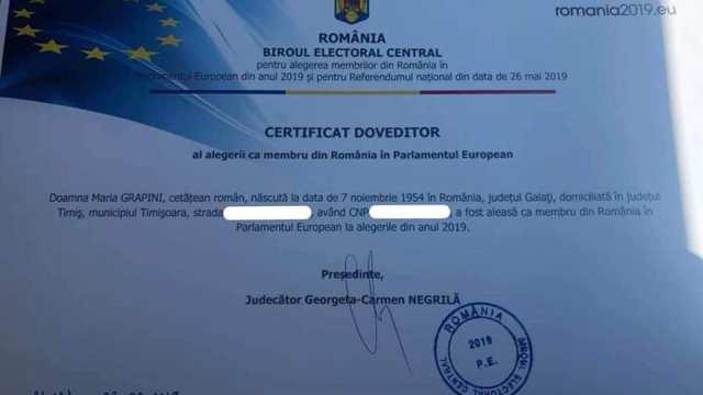 certificat maria grapini