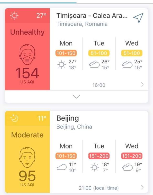 poluare Timisoara Beijing