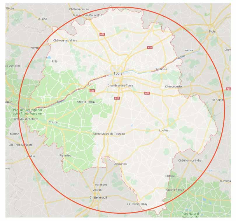 Carte de l' Indre-et-loire débarras 37 zone d'intervention pour vide maison contactez-nous