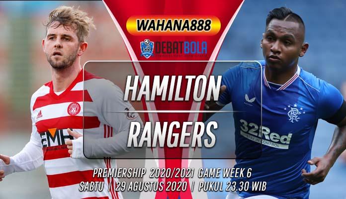 Prediksi Hamilton Academical vs Rangers 29 Agustus 2020