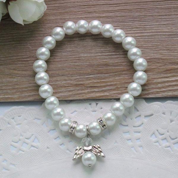 pulsera de perlas con angel