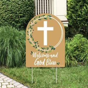 Cartel bienvenido al bautizo